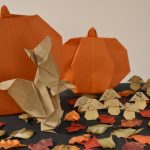 Origami Pumpkins, Squirrel, and Leaves.