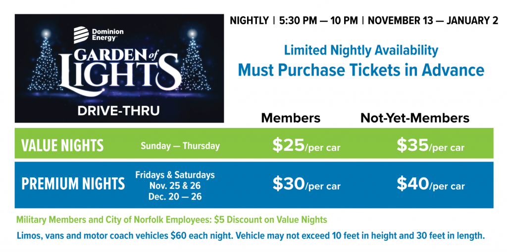 Graphic of Dominion Energy Garden of Lights 2020 pricing.