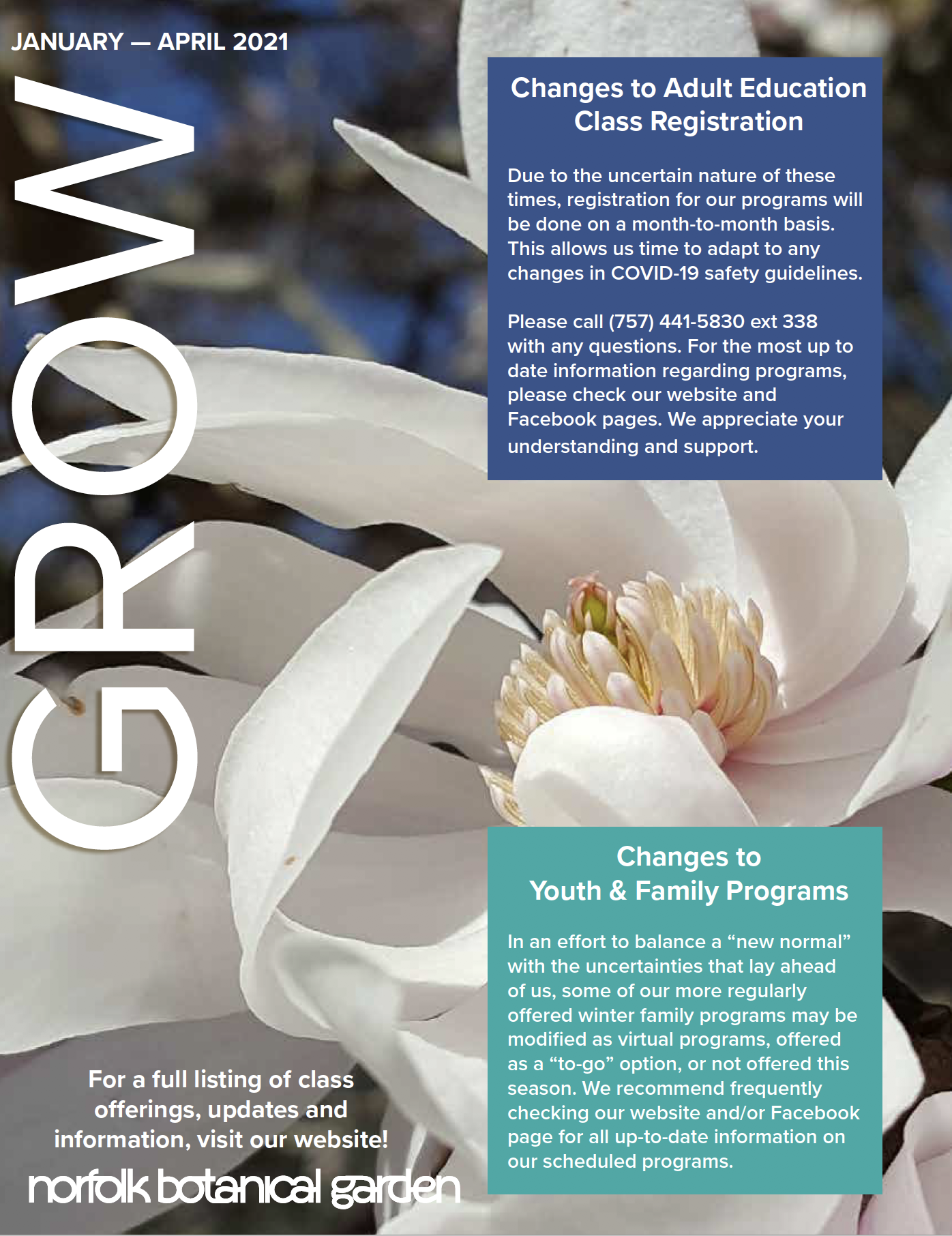 Image of the front cover of GROW, the NBG course catalog for the months of January through April, 2021.